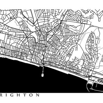 Brighton Map Print - UK Wall Art - England Poster