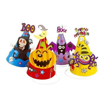 4Pcs Halloween Cartoon Paper Cap Ornament Hat for Children Kids (Skull Bat Pumpkin Spider)