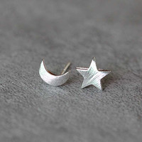 Crescent Moon Star Stud Earrings, Sterling Silver Star Earrings, Silver Moon Earrings, Moon Jewelry, Star Jewelry, gift for her