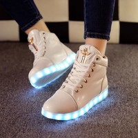 Hot Deal Hot Sale On Sale Lightning Flat Shoes LED Noctilucent Boots [6734558663]