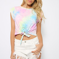 Mess With Me Top - Pastel Tie-dye Rainbow Print Crop Top