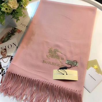 Luxury Burberry Keep Warm Scarf Embroidery Scarves Winter Wool Shawl Feel Silky And Delicate - Pink-1
