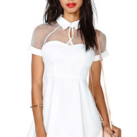 White Short Sleeve Chest Cut-Out Collared Mini Skater Dress with Mesh Accent