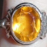 Vintage 1930-40's Sterling Topaz Paste Art Deco Ring