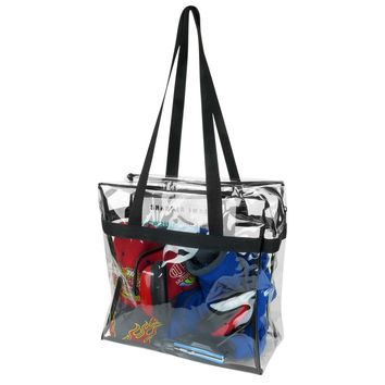 Evelots Clear Tote Bag Stadium Approved,12 x 12 x 4,Shoulder Straps,Zippered Top