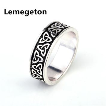 Lemegeton vintage  Punk silver plated Knot Triangle Viking Ring  Black Amulet Rounded wedding Rings For Women