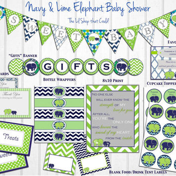 Navy & Lime Elephant Baby Shower Decorations: Printable Package, Instant Download, Banner, Blue, modern by Little Party that Could