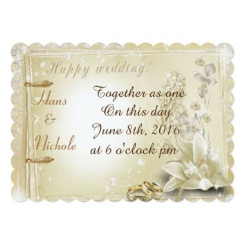 Happy wedding with flowers and candles 5x7 paper invitation card