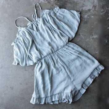 crinkled peek a boo shoulder romper with ruffle hem in aqua