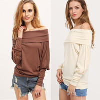 Plus Size Women's Fashion Knit Batwing Sleeve Long Sleeve T-shirts [9307407492]
