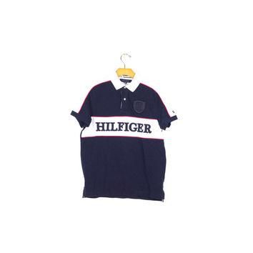 TOMMY HILFIGER POLO shirt / embroidered logo / red white & blue / athletic / mens smal