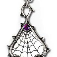 Discontinued Alchemy Gothic Destiny Spider Web Pendant Necklace Black Rose Skull