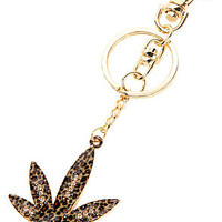 *Accessories Boutique The Leopard Pot Leaf Keychain in Gold