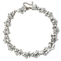 White Crystal Flower Choker Necklace