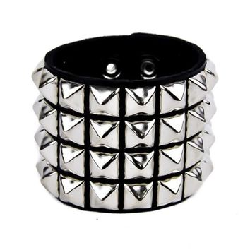 4 Row Silver Pyramid Stud Quality Leather Wristband Cuff Bracelet
