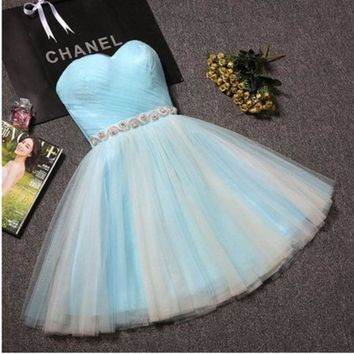 CREYIH3 New summer short paragraph small evening dress bridesmaid sisters strapless dress