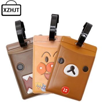 Cute Cartoon Rilakkuma Domo Kun Luggage Tag Pvc Suitcase Baggage Boarding Tags Address Label Name Mixproof Travel Tag