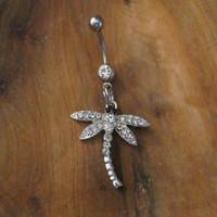 Belly Button Ring - Body Jewelry - Silver Rhinestone Dragonfly with Clear Gem Stone Belly Button Ring