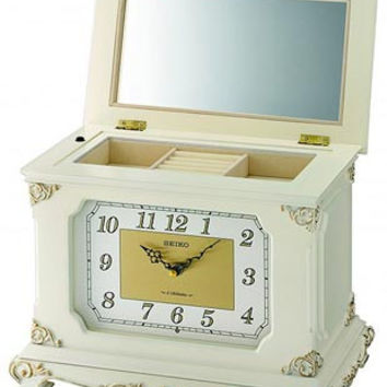 Seiko Musical Jewelry Case - 6 Hi-Fi Melodies - Antique White Wooden Case