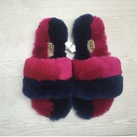 """UGG"" Wool Fur Slipper Contrast Shoes"