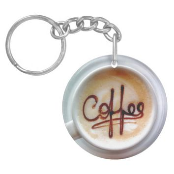 Latte coffee cup and saucer keychain