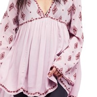 Free People Embroidered Bell Sleeve Top | Nordstrom