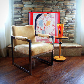 GORGEOUS CLUB CHAIR Vintage Milo Baughman Style Yellow Cream Velvet and Geometric Square Chrome Swank Lounge Side Chair Glamorous Chic