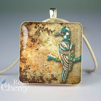 Woodpecker scrabble tile pendant,Woodpecker glass pendant,Woodpecker jewelry pendant- D0681SP