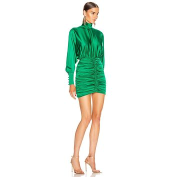 Ocstrade 2020 Green Ruched Ladies Bodycon Dresses Sexy Woman Party Bodycon Dress Puff Long Sleeve Bodycon Mini Dress