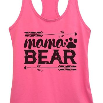 Womens Mama BEAR Grapahic Design Fitted Tank Top