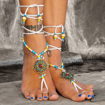 Elektra The Goddess Of Amber Colored Storm Clouds / Barefoot Sandals By Iris — Bib + Tuck
