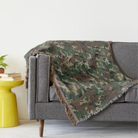 Green Woodland Military Camouflage Pattern Throw Blanket