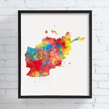 Afghanistan Map, Afghanistan Wall Art, Afghanistan Poster, Watercolor Map, Map Poster, Travel Print, Framed Art, Custom Color, Geography