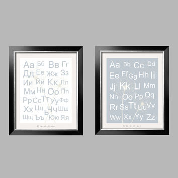 Bulgarian and English Alphabets and Dandelions in grayish blue and white 2 pc 8x10 by YassisPlace