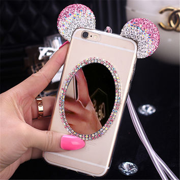 New Luxury 3D Diamond Mirror Glitter Mickey Minnie Ears Rhinestone TPU Phone Cases Cover For iPhone 5 5G 5S 6 6G 6S 6Plus 5.5