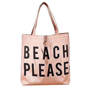 Beach Please Tote Bag in Rose Gold