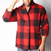 BLACK FRIDAY SALE 50% Off 60s Vintage Red and Black Lumberjack Unisex Coat Biggie The Notorious Big 00239s
