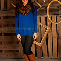 LARUE LUXE TOP IN ROYAL BLUE