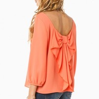 PIPPA BOW BLOUSE IN TANGY ORANGE
