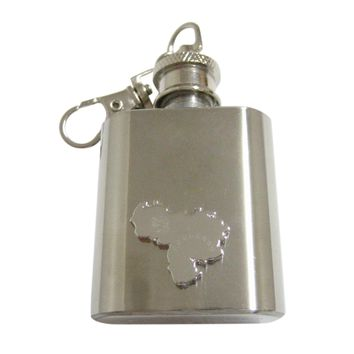 United Arab Emirates UAE Map Shape and Flag Design 1 Oz. Stainless Steel Key Chain Flask