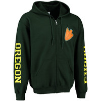 Men's New Agenda Green Oregon Ducks Triple Threat Lightweight Full Zip Hoodie