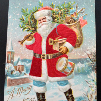Santa Postcard, Santa Claus Postcard, Christmas Postcard, Antique Postcard, Santa Silk Card, Silk Santa Car Postcard, Christmas Ephemera