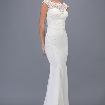 Lace Cap Sleeved Mermaid Wedding Gown White