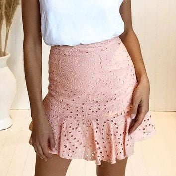 Cindy Marie Pink Hollow Out Skirt