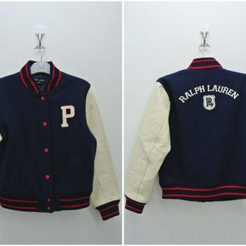 P Polo Ralph Lauren Varsity Jacket Teens Size 160 Kids Leather Wool Nylon Football