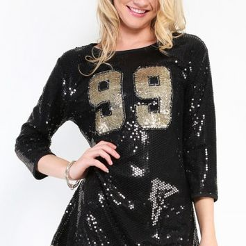 99 Sequin Jersey Dress | MakeMeChic.com