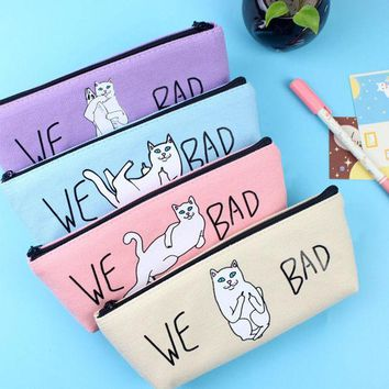 VONC1Y New Arrvial Canvas Pencil Case Cute Kawaii Cat Pencil Bag Pencil Box Office School Supplies Kids Stationery Free Shipping 1220