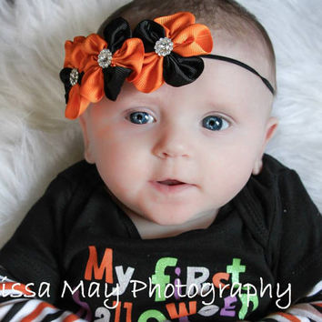 Halloween Baby Headband, Orange Black Baby Hair Band, Newborn Girl Infant Headband, Fall Thanksgiving Headband, Canada