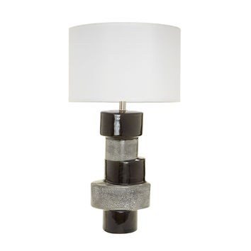 857134 Stacked Oval Table Lamps In Gray And Black