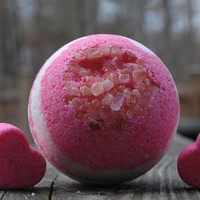 Giant Himalayan Salt Pink and White Bath Bomb With 2 Small Pink Hearts